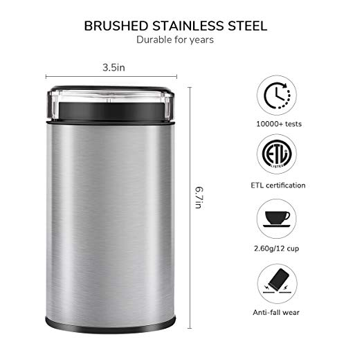 Coffee Mill Grinder 60G, Keemo Coffee Bean Grinder Electric 12 Cup, Fast Fine Home Blade Coffee Grinder Brushed Stainless Steel 150W for Coffee Beans Spices Nuts and Grains by Keemo (Image #4)