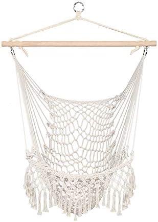 Junisus Hammock Chairs Cotton Hanging Rope Swing Chair Seat for Bedroom Garden Yard Camping Indoor Outdoor Beige with Tassel