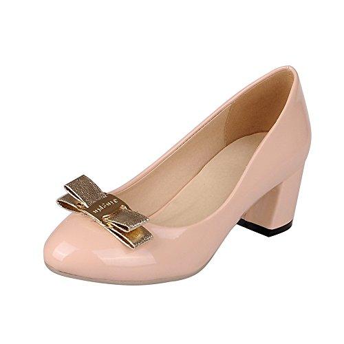 Balamasa Damene Spunnet Gull Bowknot Round-toe Patent Lær Pumper-sko Rosa