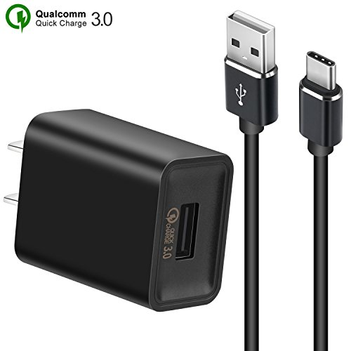 Quick Charger 3.0 USB Wall Charger +3.3ft USB C Cable 18W QC 3.0 Charger Quick Adapter Fast Charger for Samsung Galaxy S8 S8 Plus Note 8 S9 S9 Plus, Huawei P20/P20 Pro, LG G6 G5 V30 V20 (Black) by Changbao