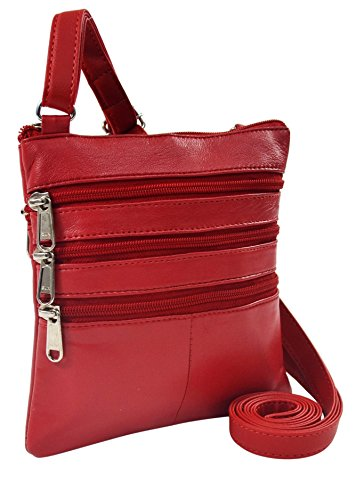 Bag Leather 1F 2 Genuine Crossbody red 459 8wExBqwAdn