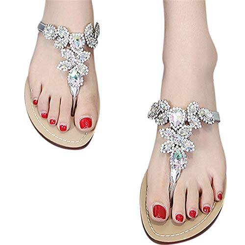 (Fainosmny Summer Womens Slippers Flat Flip-Flops Fashion Rhinestone Open-Toe Sandals Plus Size Beach Slippers Water Shoes Silver)