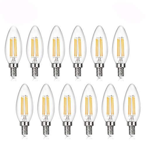 comfortableplus led Light Bulbs C35 12Pack Edison Filament Candelabra LED Bulb,6W(60W) Incandescent Equivalent,Dimmable LED Candle Bulbs,E12 Base Lamp,520lm,6400K Daylight,360°Beam Angle -