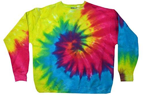 Rainbow Adult Sweatshirt (Tie Dye Crew Neck Fleece Reactive Rainbow Sweatshirt Adult S-3XL Long Sleeve (Small))