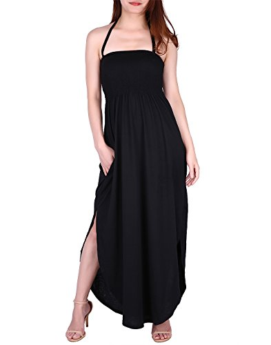 HDE Maxi Dress Plus Size - Tie Halter Neck Tube Top with Side Slit and Pockets (Black, Large)