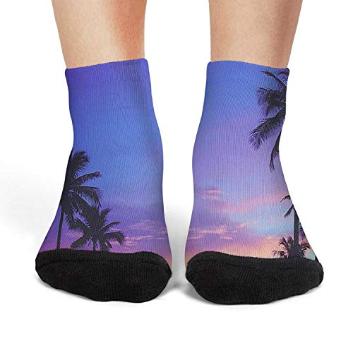 (Summer Silhouetted Palm Trees Short Socks Crew Thin High Ankle Soft Flat Women Womens)