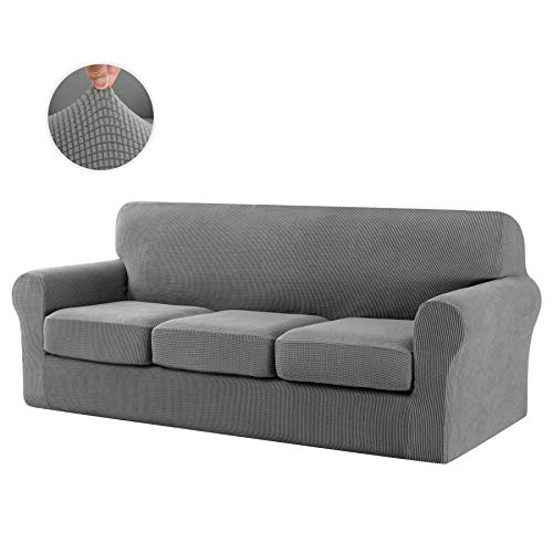 CHUN YI Stretch Sofa Slipcover Separate Cushion Couch Cover, Armchair Loveseat Replacement Coat for Ektorp Universal Sleeper, Checks Spandex Jacquard Fabric (Large,Dove Gray)
