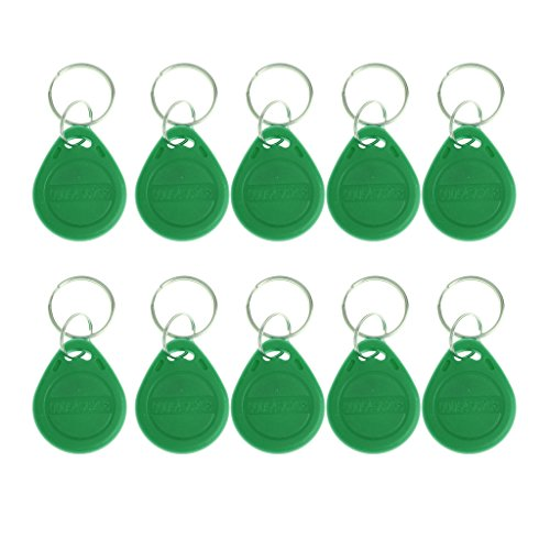 - DYNWAVE 10-Pack RFID Proximity ID Key Fobs/Keyfobs/Smart ID Tags Card, for Security Access Control (125KHZ) - Green, as described