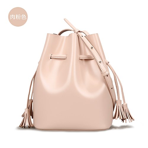 GUANGMING77 Bucket Bag Quaste Handtasche Umhängetasche Messenger Bag Meat Pink bia9Z1uYvv