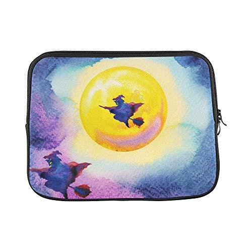 InterestPrint Halloween Witch with Yellow Full Moon Painting Halloween Party 13 13.3 Inch Waterproof Neoprene Laptop Notebook Sleeve Bag for Women Men