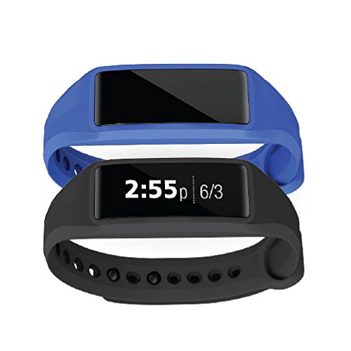 Striiv Fusion Bio 2: Activity Tracker, Smartwatch, Heart Rate Monitor (2 Pack), Black/Royal Blue