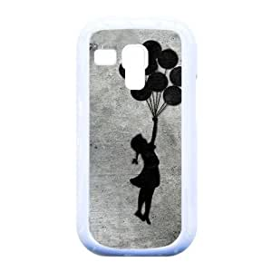 Banksy Balloon Girl Black Silicon Case Snap-On Protective Back Cover Rubber Case FREE Crystal Clear Screen Protector ,TPU Phone case for Samsung Galaxy S3 Mini i8190,white
