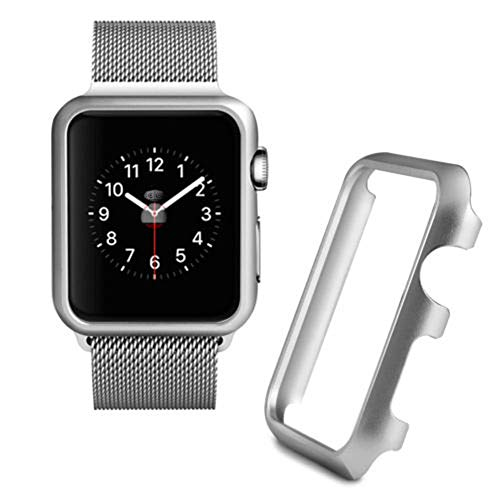 (SHL for Apple Watch Series 1/2/3 Screen Protector, Aluminum Case Protective Frame Bumper Case Sport Case (38mm, Silver))