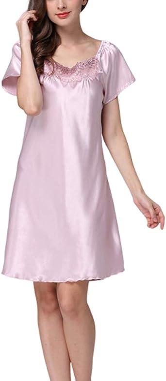 Mujer Camisón Pijama Una Pieza Algodón Salto de Cama Botones Cuello Seda Ropa Dormir Interior Camiseta: Amazon.es: Ropa y accesorios