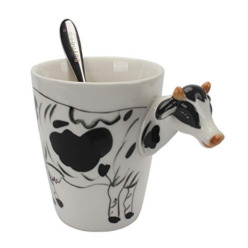 - Novelty Funny Hand Painted Coffee Mug - Cows 3D Handle Handmade Large 15 oz Porcelain Tea Cup Unique Ideal Gifts