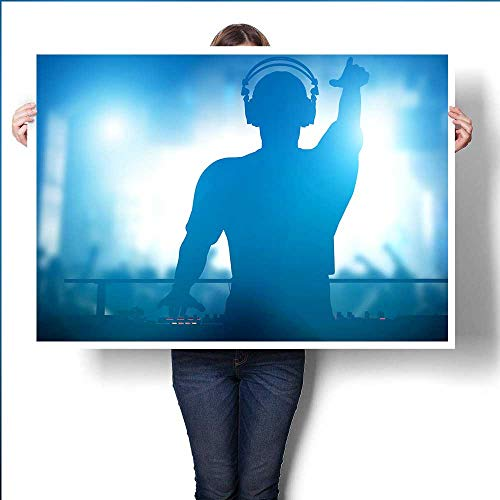 Club Disco DJ Playing and Mixing Music for Crowd of Happy People Nightlife Concert Lights flaresroombedroom24