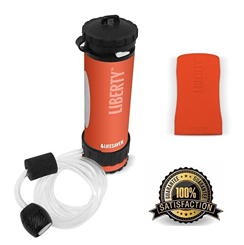 (LifeSaver Liberty Water Filter Purification Bottle with Inline Pump & Protective Silicone Sleeve - Eliminates 99.9999% Bacteria, & 99.999% of all Viruses - 14oz Capacity)