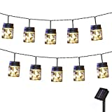 Obrecis LED Mason Jar Solar String Light, Fairy Starry Jar Lights Copper Lantern Lights Outdoor Solar Garden Light Hangers Firefly Lamp for Yard, Lawn, Party, Patio Decorations-15.7ft(Small)