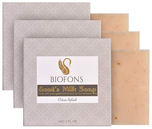 Handmade Goat Milk Soap Oatmeal & Coconut Oil Soap, Citrus 5 Oz. (3 Pack) | for Dry Skin, Sensitive Skin, Eczema