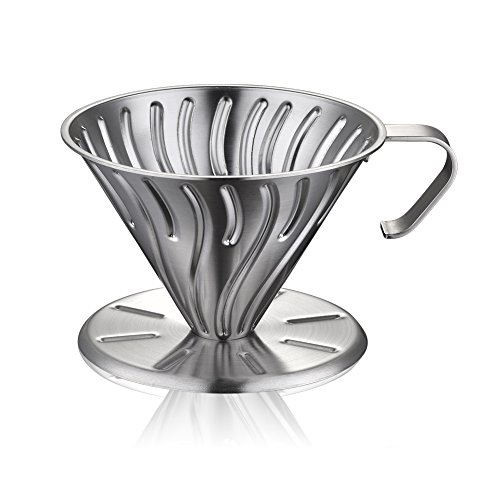 Minos Clever Coffee Dripper Brewer - Pour Over Cone, Wear and Scratch-Resistant Stainless Steel with Permanent Drip Cone Filter: Makes 1-4 Excellent Cups by Minos