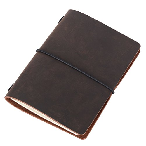 Passport Travelers Notebook - Minimalist Leather Journal Diary (Refillable | 64 Blank Pages | Dark Brown)
