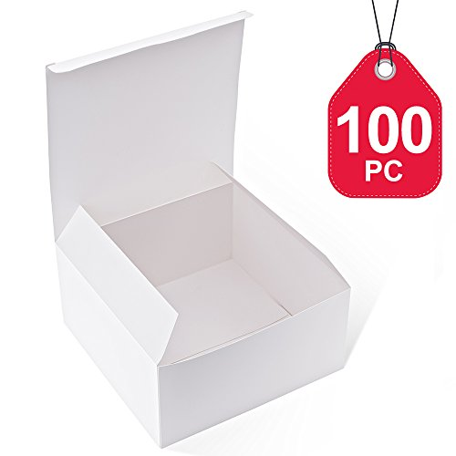 MESHA White Boxes 100 Pack 8x8x4 Inches, White Paper Gift Boxes with Lids for Gifts, Crafting, Cupcake Boxes