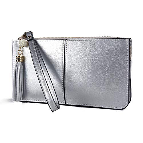 Price comparison product image Befen Women's Leather Wristlet Clutch Cell Phone Wallet,  Multi Card Organizer Wallet Purse - Shiny Silver