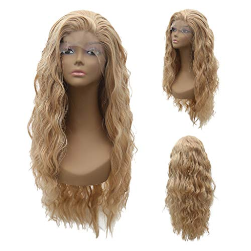 Eoeth Big Sale!Like Human Hair Women's Flax Fluffy Wavy Synthetic Lace Front Wig Long Wigs High Temperature Fiber Wig Hair Cosplay Hair Wig (Shipped by US) Free Post (Best Temperature For Humans)
