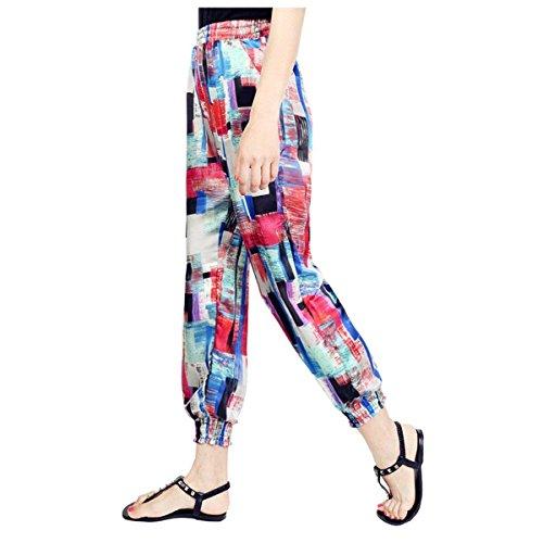 Tempo Stampate Chic Abbigliamento Lunghe Donna Estivi Baggy Lanterna Di Waist Moda Ragazza Geometrie Trousers Eleganti High Spiaggia Pantaloni Libero Stoffa qvfxwUxOt