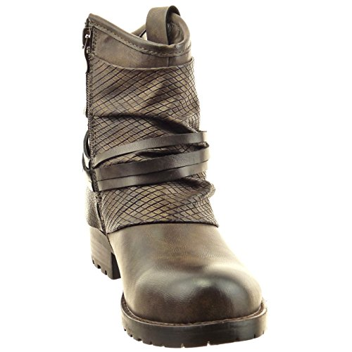 Sopily - Chaussure Mode Bottine Motard Montante femmes Peau de serpent multi-bride clouté Talon bloc 3.5 CM - Marron