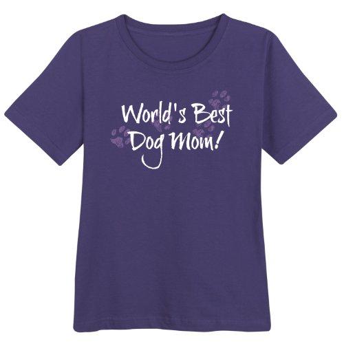 Women's World's Best Dog Mom! Purple T-Shirt - Medium