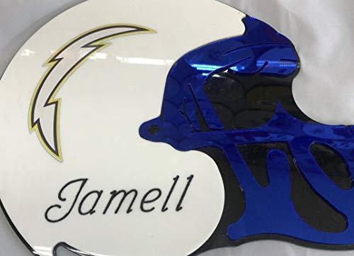 - San Diego Chargers NFL Football Helmet Wall Decor Wall Hanging Personalized Free Engraved Mirror Sign NFL Sports Memorabilia - with Your Name On It!