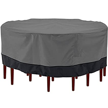 North East Harbor Outdoor Patio Furniture Table And Chairs Cover 94u0026quot;  Diameter Dark Grey With