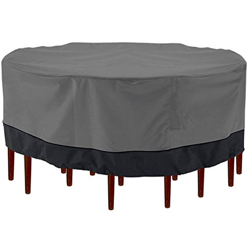 Outdoor Patio Furniture Table and Chairs Cover 94 Diameter Dark Grey with Black Hem - 100% Waterproof Winter Storage Cover Deck Patio Backyard Veranda Porch Table Covers KapscoMoto