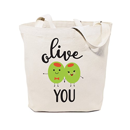 (The Cotton & Canvas Co. Olive You Reusable Grocery Bag and Farmers Market Tote)