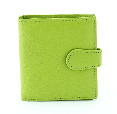 LEATHER BIFOLD LADIES CLUTCH WALLET WITH FLAP ID (LIME)