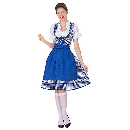 CCatyam Oktoberfest Dress Women Girl, Costume Beer Maid Outfit German Traditional Carnival Party Blue