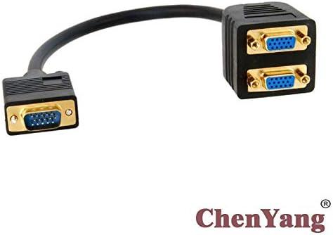 Generic CYSM Black Male RGB VGA SVGA to 2 VGA HD 15 Female Splitter Adapter Extension Cable Black