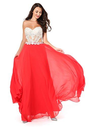 (Amberry Women's Sweetheart Strapless Embroidery Rhinestone Chiffon Long Evening Prom Dresses)