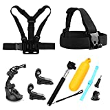 SHOOT 9in1 Accessories Bundle Kit for GoPro Hero 7 Black Silver White/Hero 6/Hero 5 4 3+ 3 2 1/HERO(2018)/Fusion AKASO EK7000 APEMAN Campark FITFORT 4K WIFI Action Camera Head Belt Strap, Chest Belt Strap, Car Suction Cup Mount Holder, Floating bar,Monopod