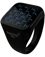 Square Ring for Men Glass Stone, Blue Light, Anti Scratches, Rust and Water Resist Size - Black