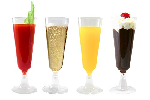 42 Champagne Flutes Premium 5.5 oz Clear Hard Plastic Disposable Glasses, Perfect for Mimosas, Bloody Mary's, Wine Glasses, Sodas, Cocktail Cups, Parfaits, Sundaes and other Desserts (Plastic Cocktail Large Glasses)
