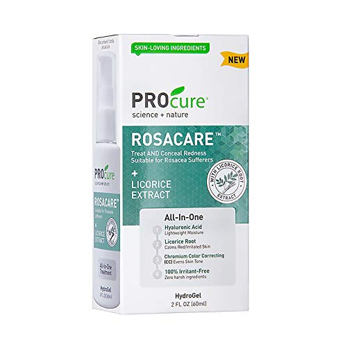 PROcure Rosacare Gel, 2 oz, Medicated Skincare Treats Redness; Hyalurnoic Acid, Redness reducing Licorice  Instant Redness Reduction CC Cream. Suitable for Rosacea Sufferers in USA