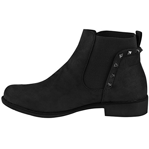 Size Faux Suede Fashion Mid Heel Block Womens Flat Biker Thirsty Black Chelsea Boots Studded q77vOw