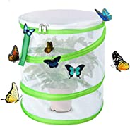 Butterfly Habitat Insect Cage - Round Pop Up Mesh Net 12 x 14 Inches Tall with Side and Top Windows