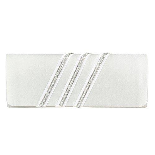Damara Satin Womens Fashion Clutch Evening Bag Rhinestone Light Slippery Beige Purse 0r01xawR