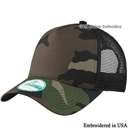 - New Era Snapback. Custom Trucker Cap. Embroidered. Your Own Logo Embroidery. (Camo/Black - Blank)