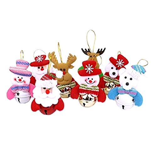 Stock Show Christmas Bell Decorations 8 Pcs Set Christmas Tree Ornaments Plush Hanging Ornament for Xmas Holiday Party New Year Decor, Snowman/Santa Claus/Bear/Elk