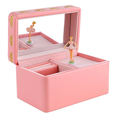 Leather Jewelry Gift - SONGMICS Girls Musical Jewelry Box with Ballerina, Pink Faux Leather Music Box, Swan Lake Tune UJMC11P