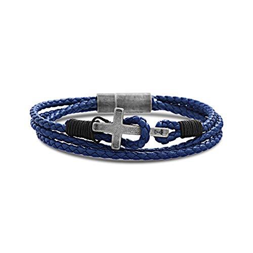 - Steve Madden Stainless Steel Cross Station Blue Leather Wrap Bracelet for Men (Blue)
